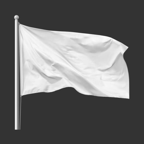 white flag waving in the wind on flagpole, isolated on gray background - флаг stock illustrations