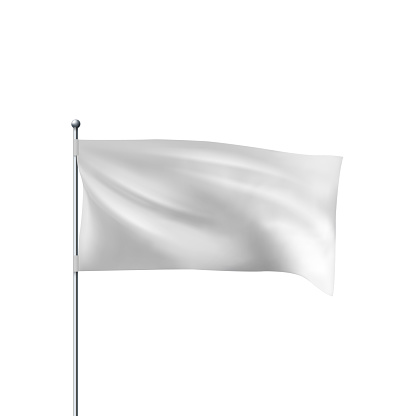 White flag waving in the wind. Realistic 3D horizontal vector flag template for advertising and design.