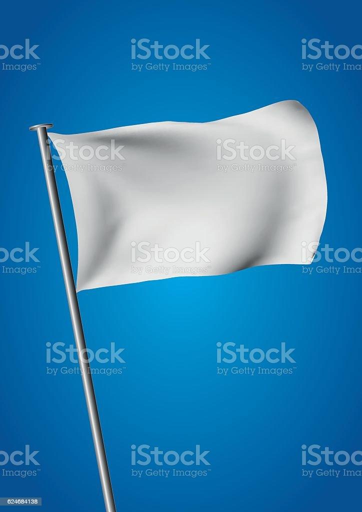 White flag waving vector vector art illustration