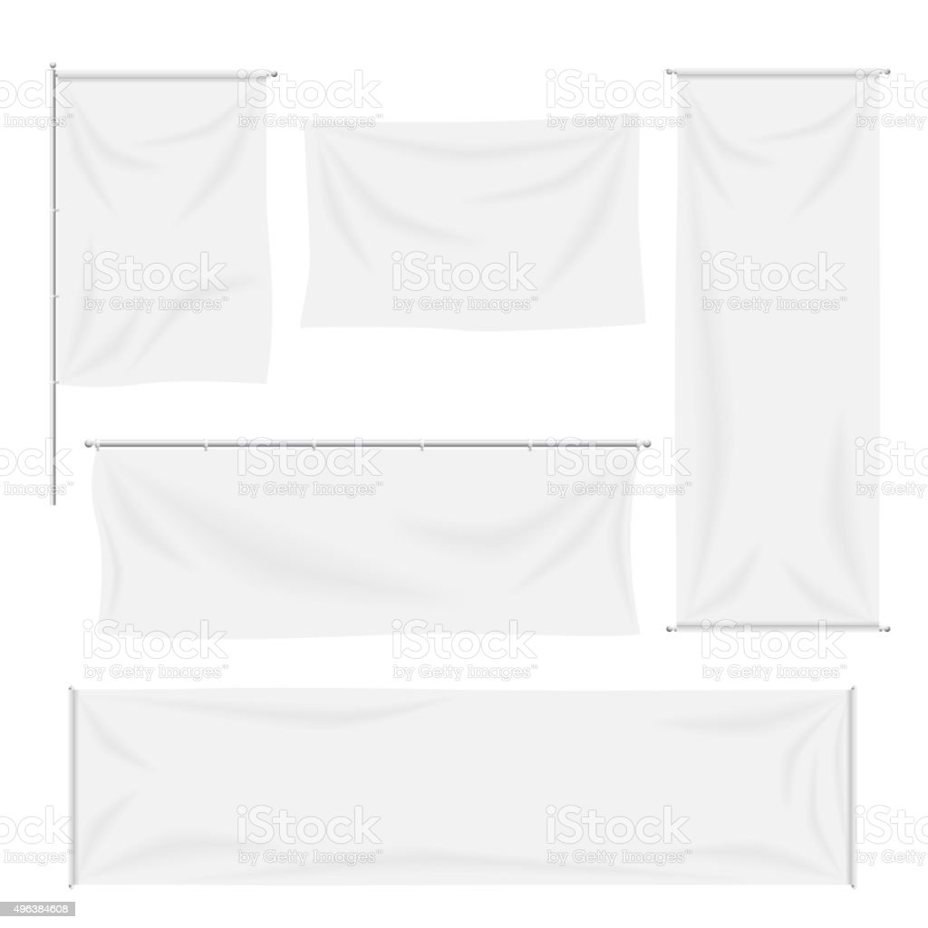 White flags and textile banners with folds vector template set vector art illustration
