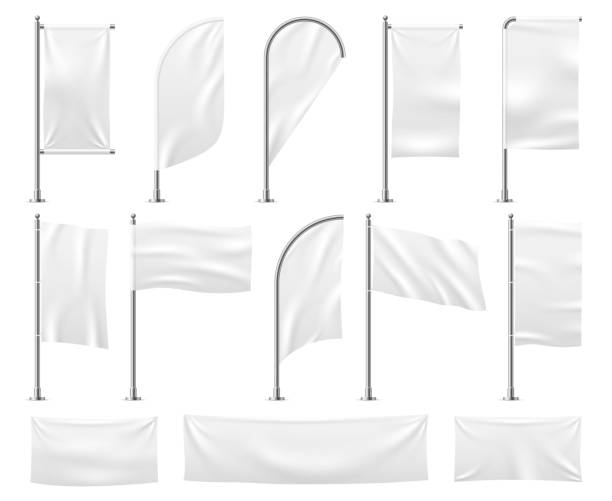 White flags set. Blank banner mockup empty waving fabric canvas poster pennant beach advertising flag vector isolated template White flags set. Blank banner mockup empty waving fabric canvas poster pennant beach advertising flag vector isolated template pennant stock illustrations