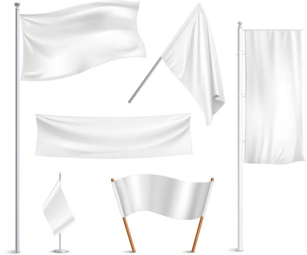 white flags Various white flags and banners pictograms collection with hoisted and half-mast lowered positions abstract vector illustration flagpole stock illustrations