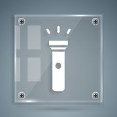 White Flashlight icon isolated on grey background. Square glass panels. Vector Illustration