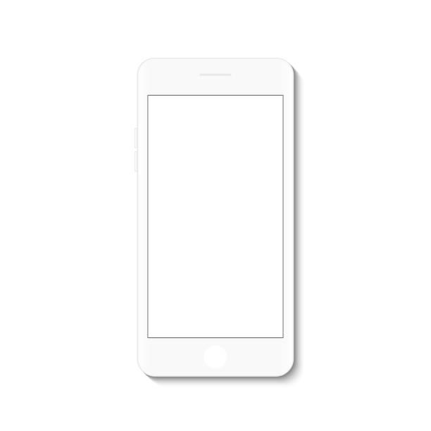 ilustraciones, imágenes clip art, dibujos animados e iconos de stock de blanco plano blanco pantalla, smartphone moderno diseño de dibujo vectorial. - teléfono inteligente