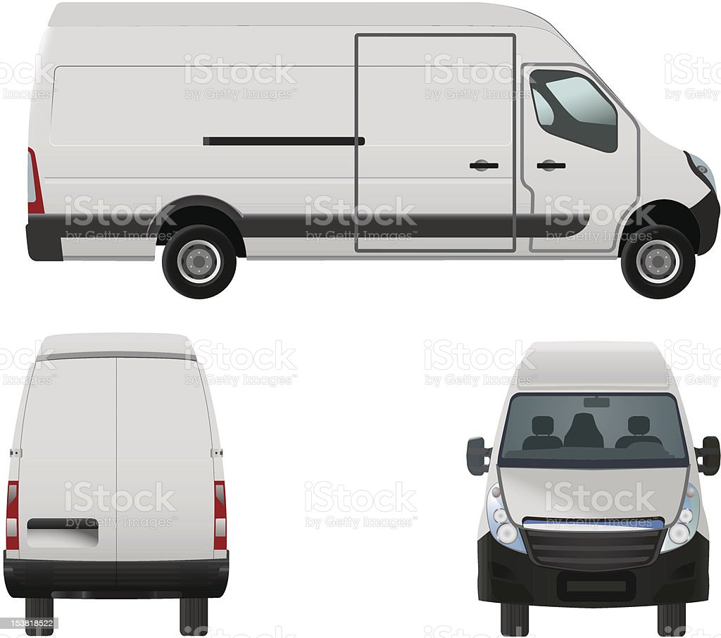 White fleet van concept graphic vector art illustration