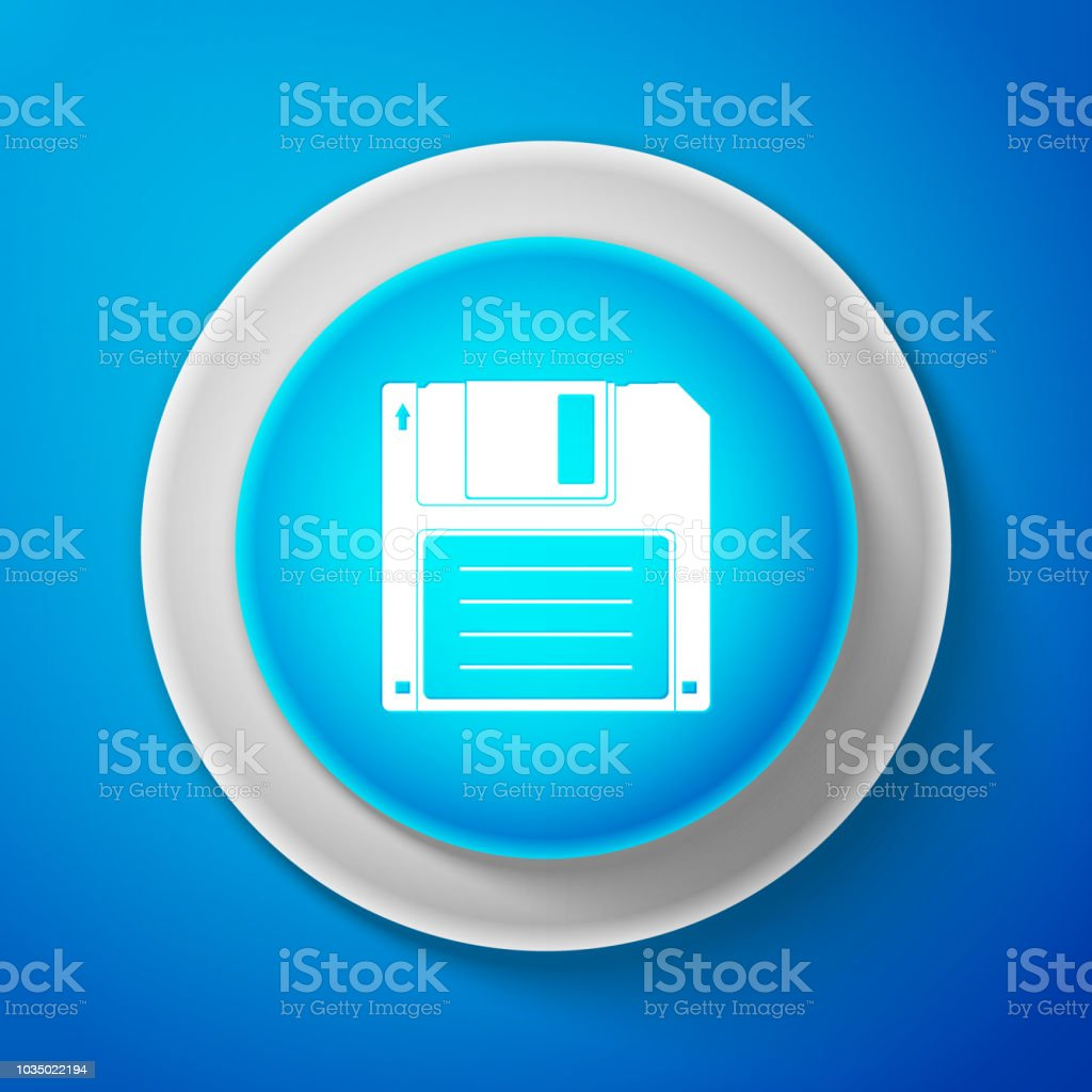 White Floppy disk for computer data storage icon isolated on blue background. Diskette sign. Circle blue button with white line. Vector Illustration vector art illustration