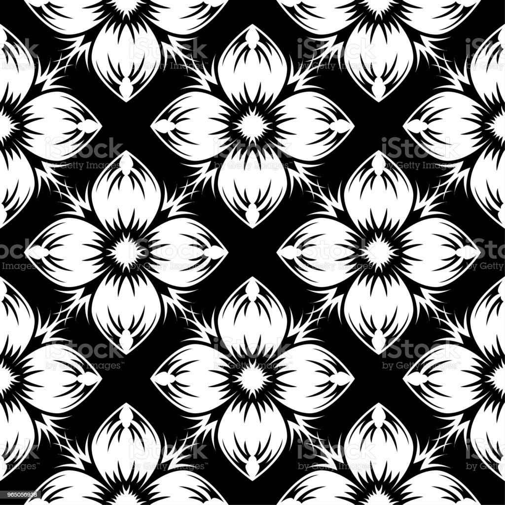 White floral design on black background. Seamless pattern royalty-free white floral design on black background seamless pattern stock vector art & more images of abstract