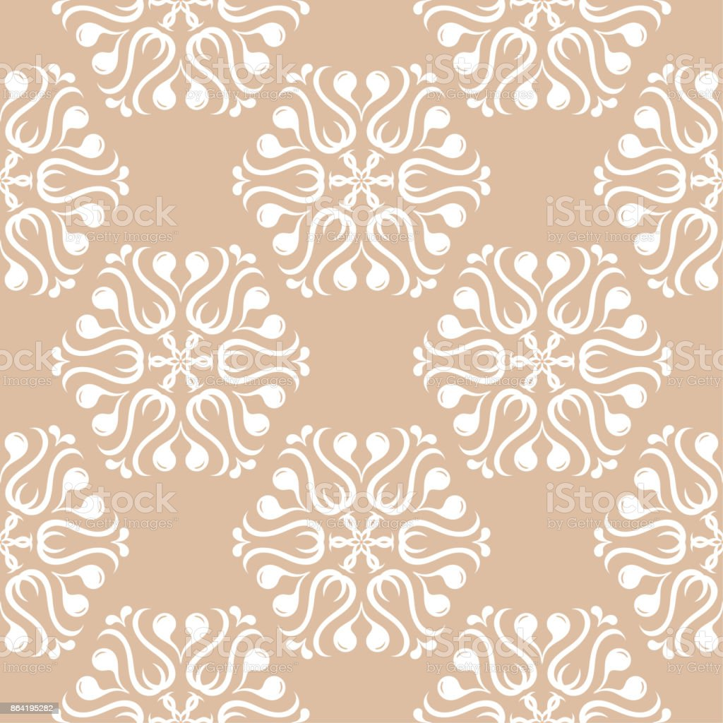 White floral pattern on beige seamless background royalty-free white floral pattern on beige seamless background stock vector art & more images of abstract