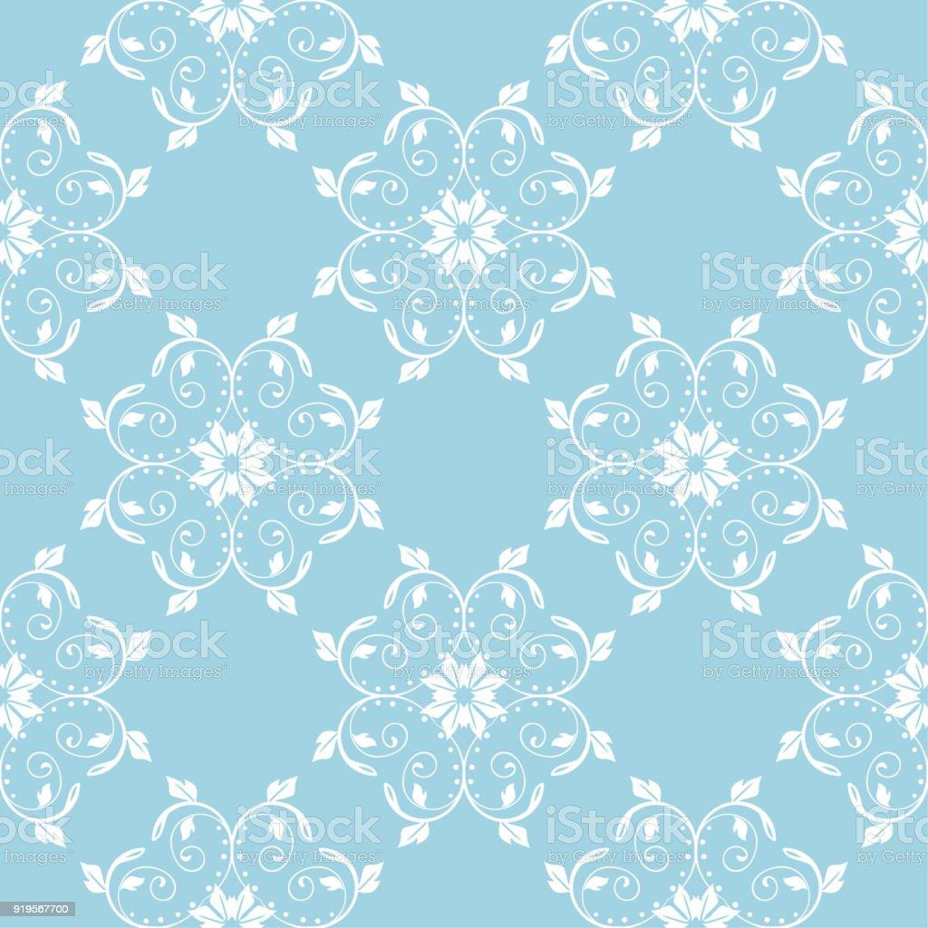 5caf975469ad Design de sem costura floral branco sobre fundo azul vetores de design de  sem costura floral
