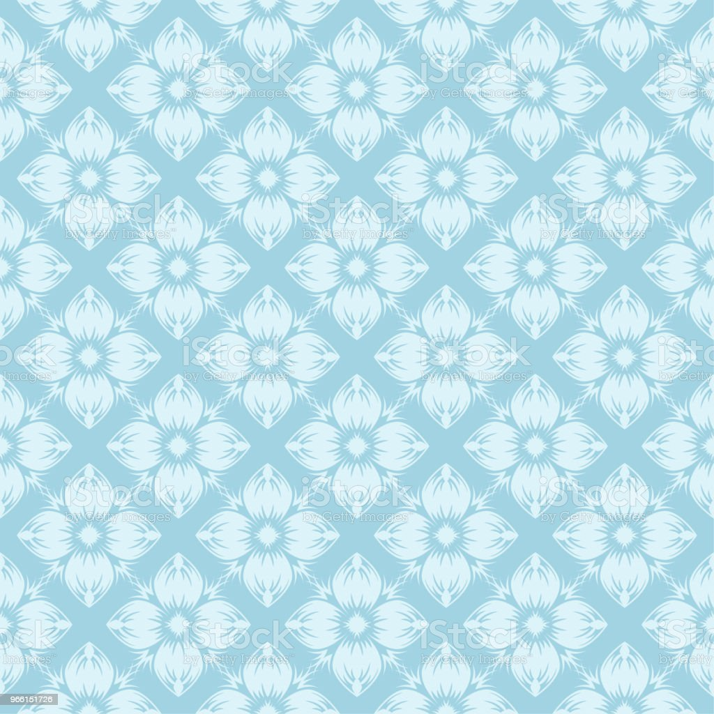 White floral seamless design on blue background - arte vettoriale royalty-free di Arabesco - Motivo ornamentale