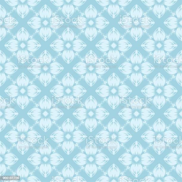 Vit Blommig Sömlös Design På Blå Bakgrund-vektorgrafik och fler bilder på Abstrakt