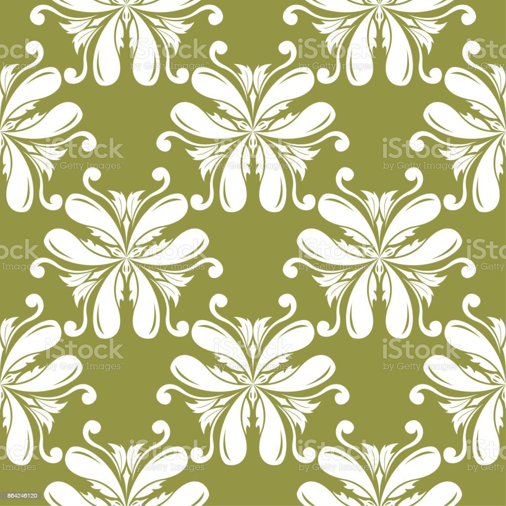 White floral seamless design on olive green background royalty-free white floral seamless design on olive green background stock vector art & more images of abstract