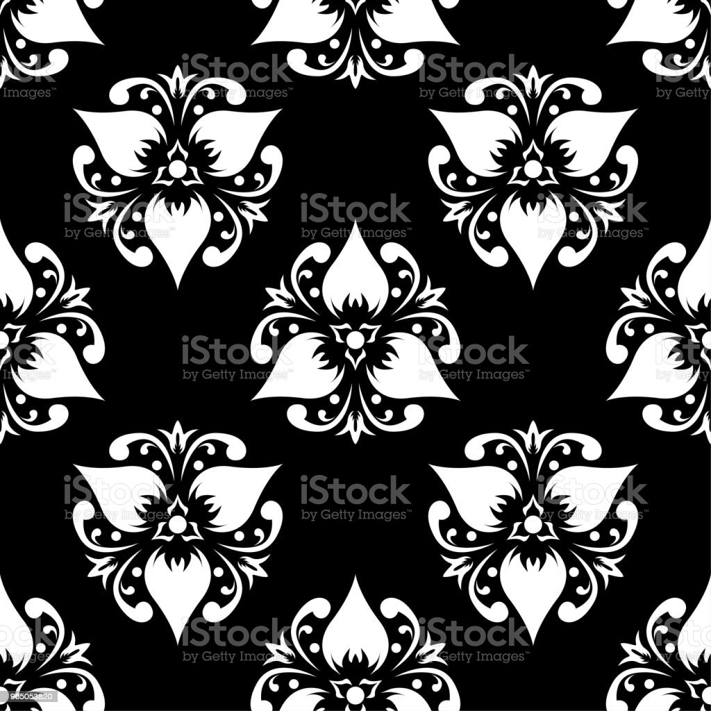 White floral seamless pattern on black background white floral seamless pattern on black background - stockowe grafiki wektorowe i więcej obrazów abstrakcja royalty-free