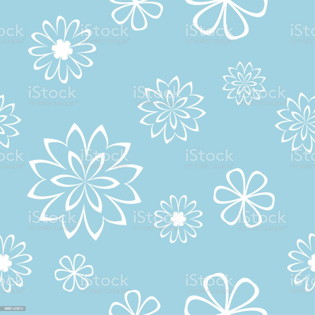 White floral seamless pattern on blue background - Royalty-free Abstract stock vector