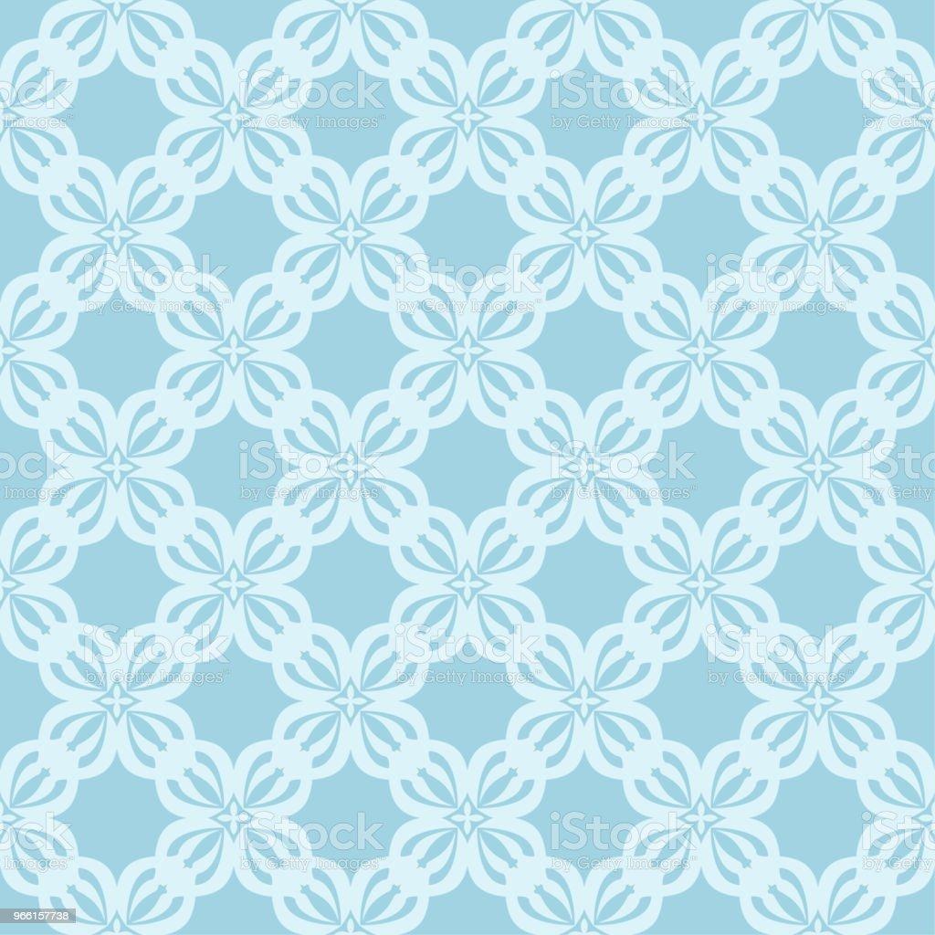 White floral seamless pattern on blue background - Векторная графика Абстрактный роялти-фри