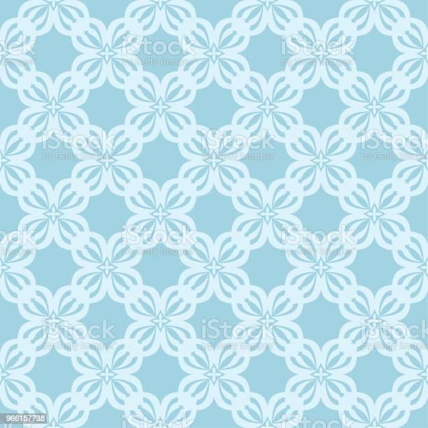 Sömlös Vit Blommönster På Blå Bakgrund-vektorgrafik och fler bilder på Abstrakt