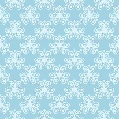 Witte Naadloze Bloemmotief Op Blauwe Achtergrond Stockvectorkunst en meer beelden van Abstract