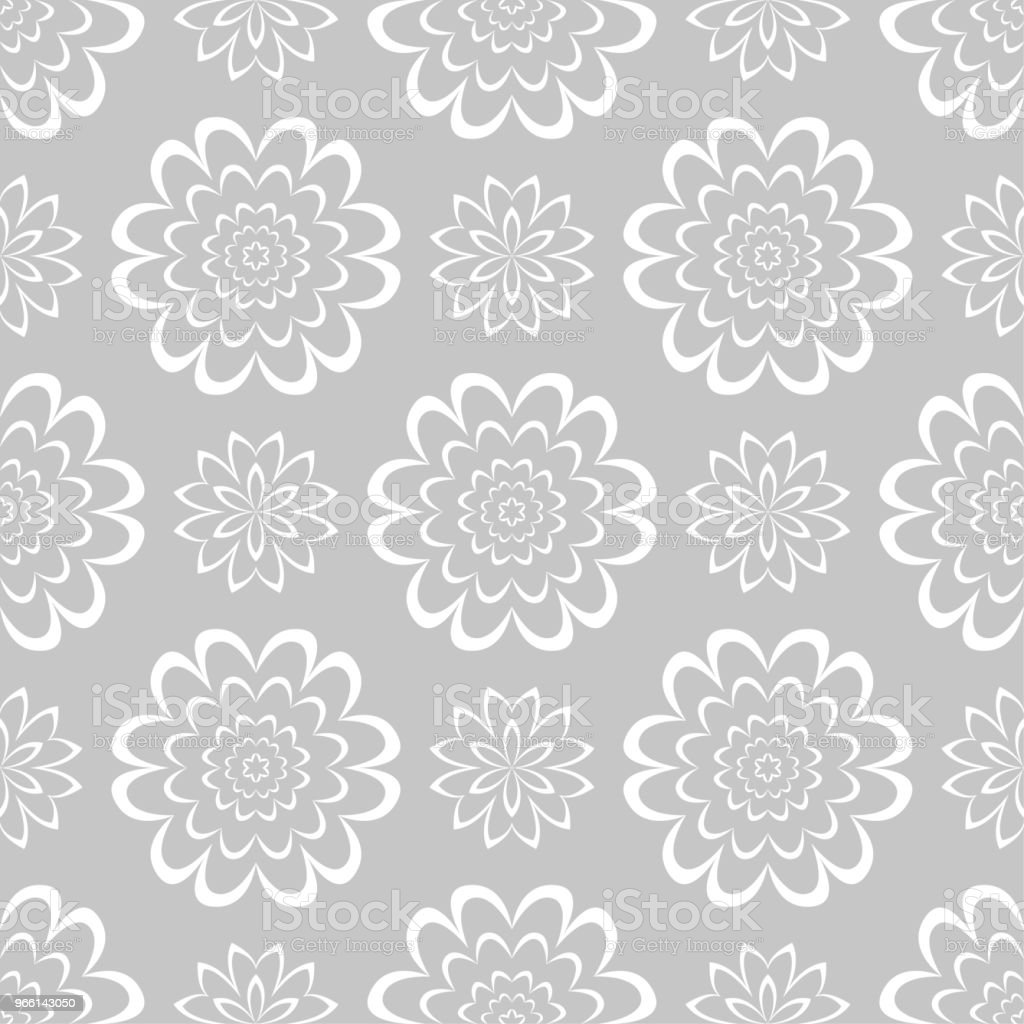 White floral seamless pattern on gray background - Векторная графика Абстрактный роялти-фри