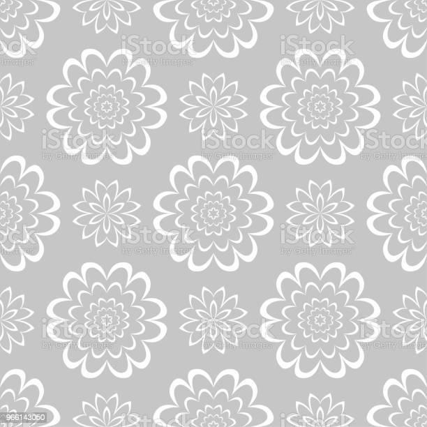 Motivo Floreale Bianco Senza Cuciture Su Sfondo Grigio - Immagini vettoriali stock e altre immagini di Arabesco - Motivo ornamentale