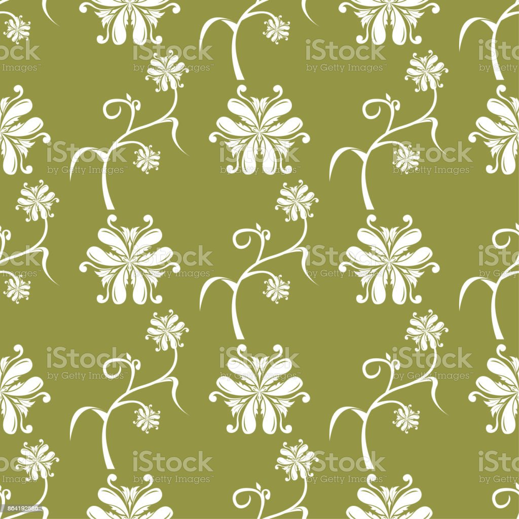 White floral seamless pattern on olive green background royalty-free white floral seamless pattern on olive green background stock vector art & more images of abstract