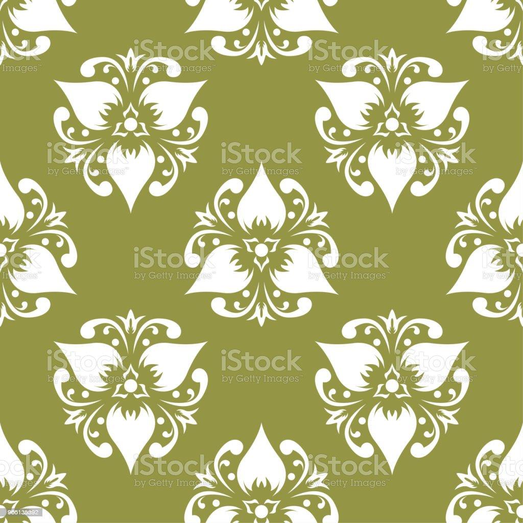 Patrón transparente floral blanco sobre fondo verde oliva - arte vectorial de Abstracto libre de derechos