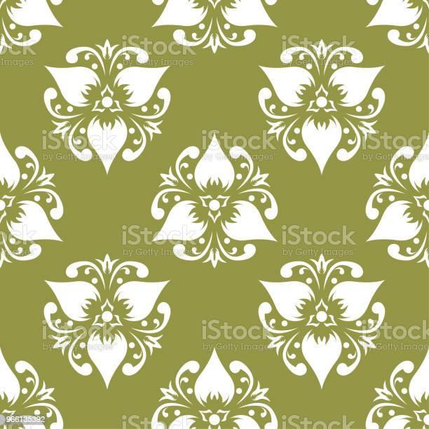 Sömlös Vit Blommönster På Oliv Grön Bakgrund-vektorgrafik och fler bilder på Abstrakt