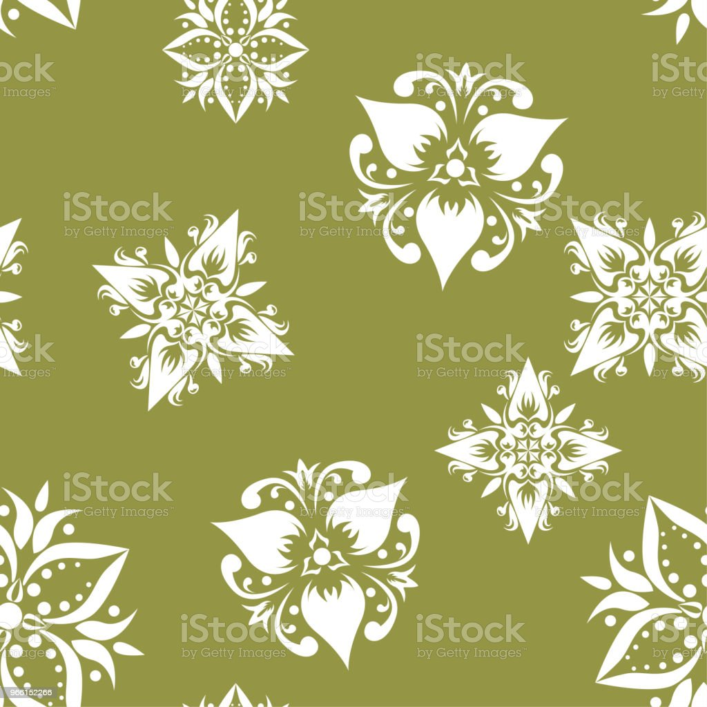 White floral seamless pattern on olive green background - arte vettoriale royalty-free di Arabesco - Motivo ornamentale