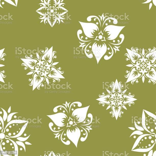 Motivo Floreale Bianco Senza Cuciture Su Sfondo Verde Oliva - Immagini vettoriali stock e altre immagini di Arabesco - Motivo ornamentale