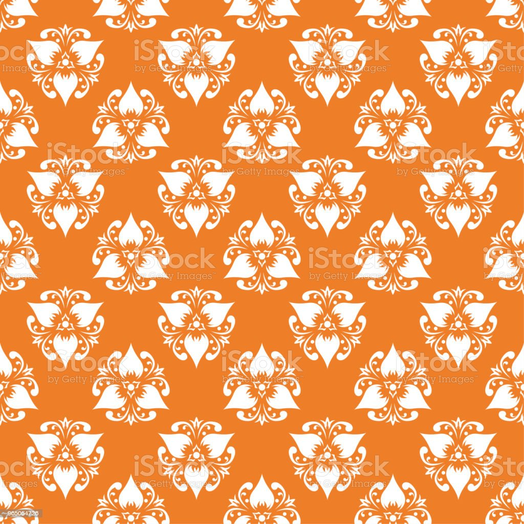 White floral seamless pattern on orange background royalty-free white floral seamless pattern on orange background stock vector art & more images of abstract