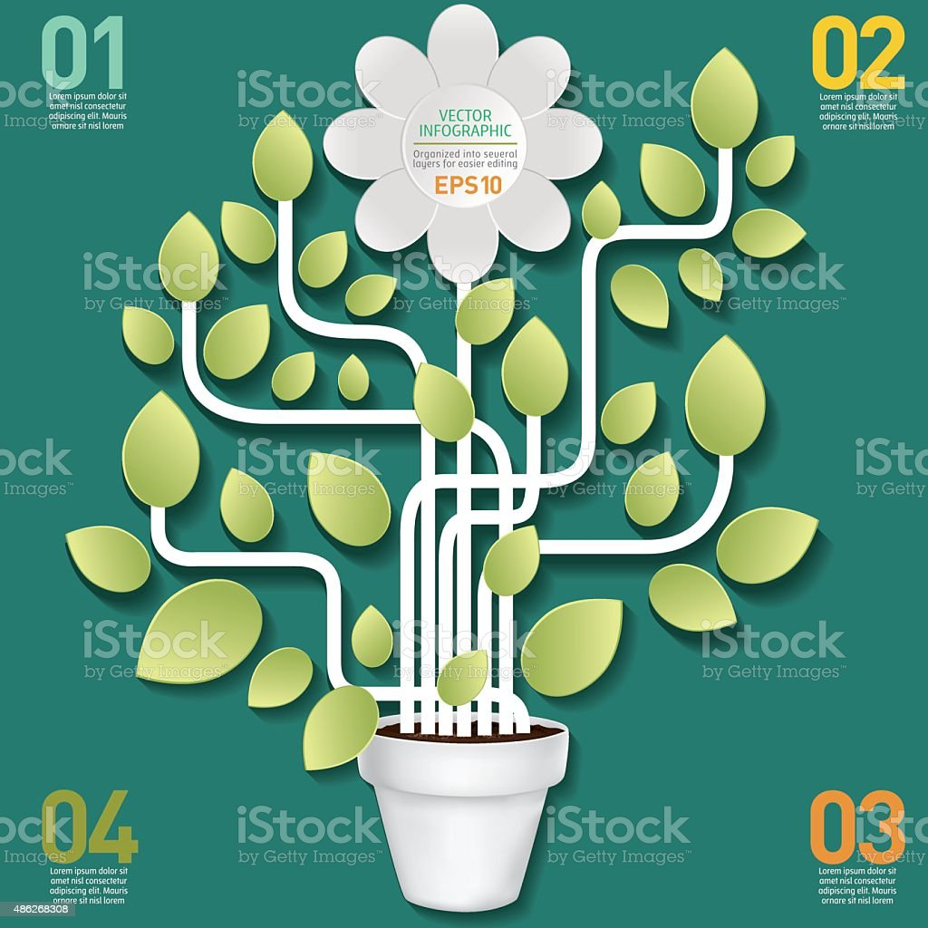 White Flower And Vines Infographic On A Wood Base Stock Vector Art