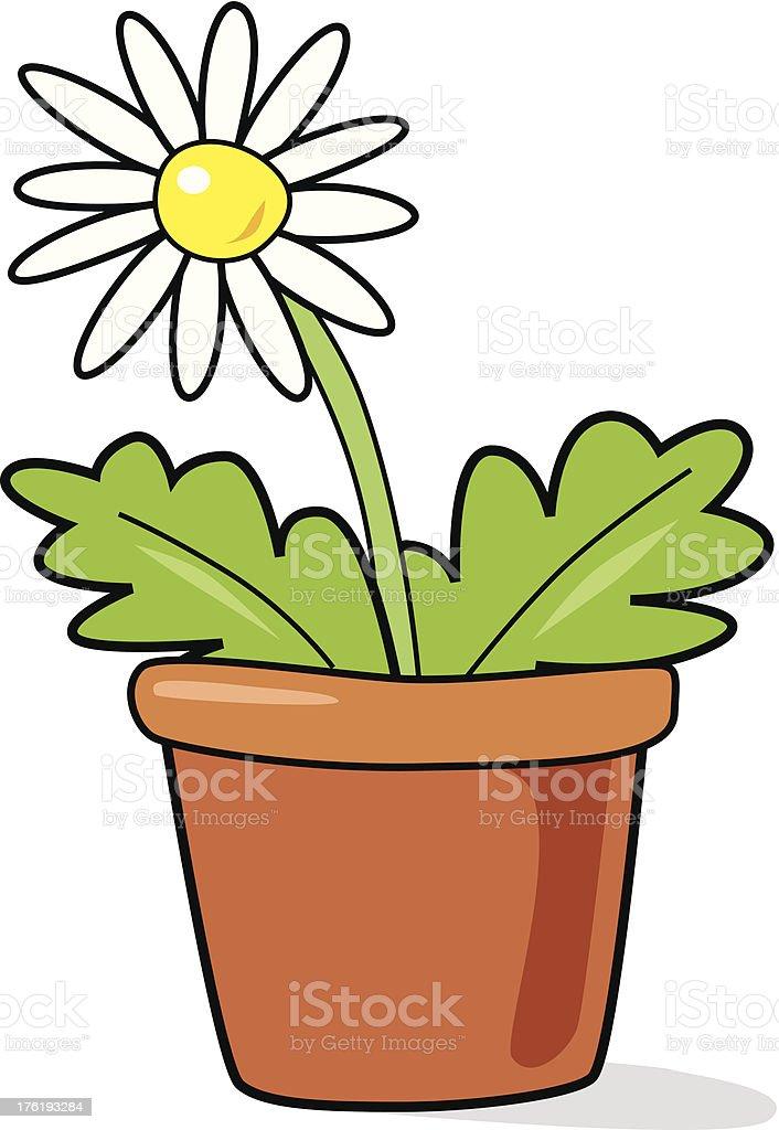 White flower in pot royalty-free stock vector art