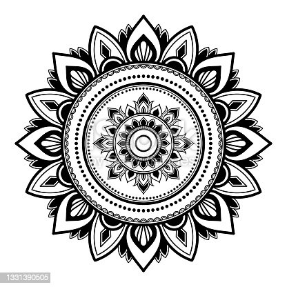 istock white Flower Mandala with vintage floral style, Vector mandala Oriental pattern, Hand drawn decorative element 1331390505