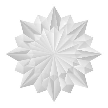 3D White Flower Origami Mandala Style 8-pointed Geometric Shape.eps