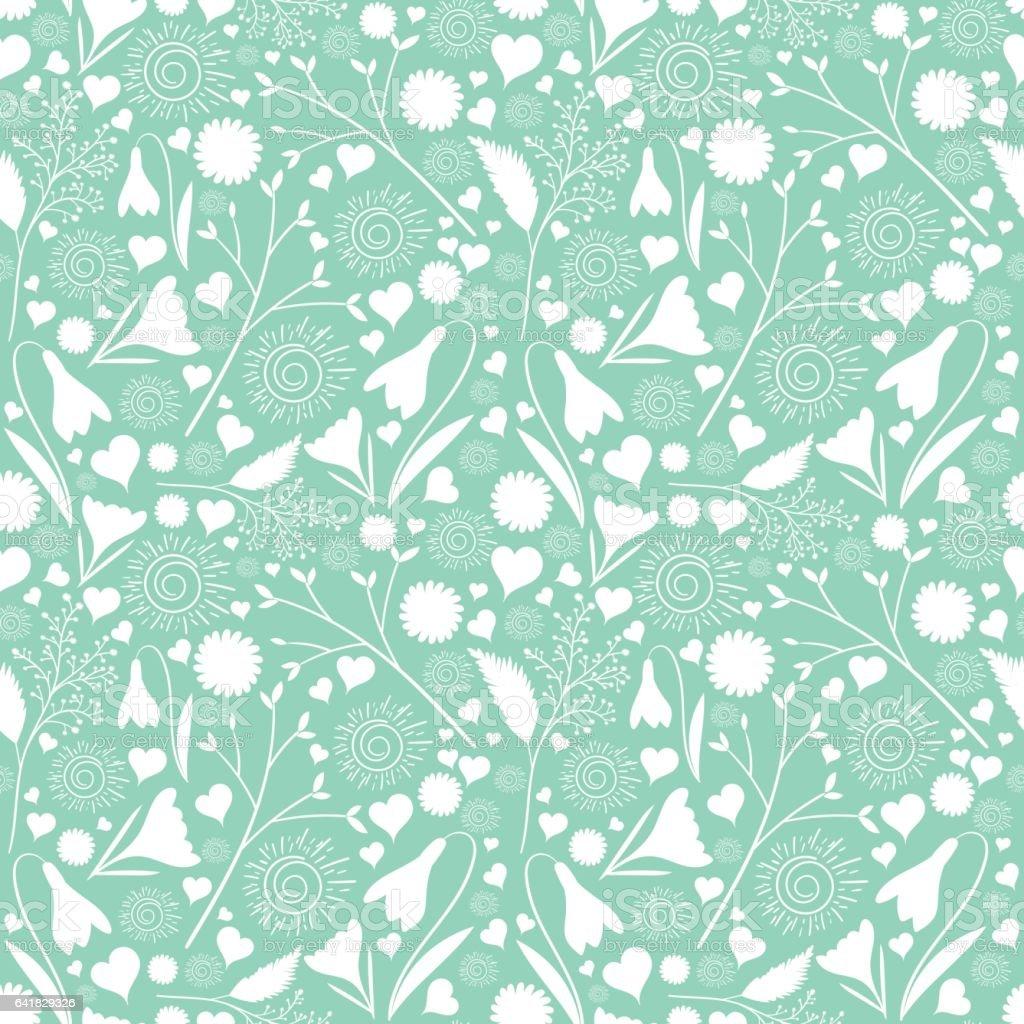 White flower pattern vector seamless vector art illustration