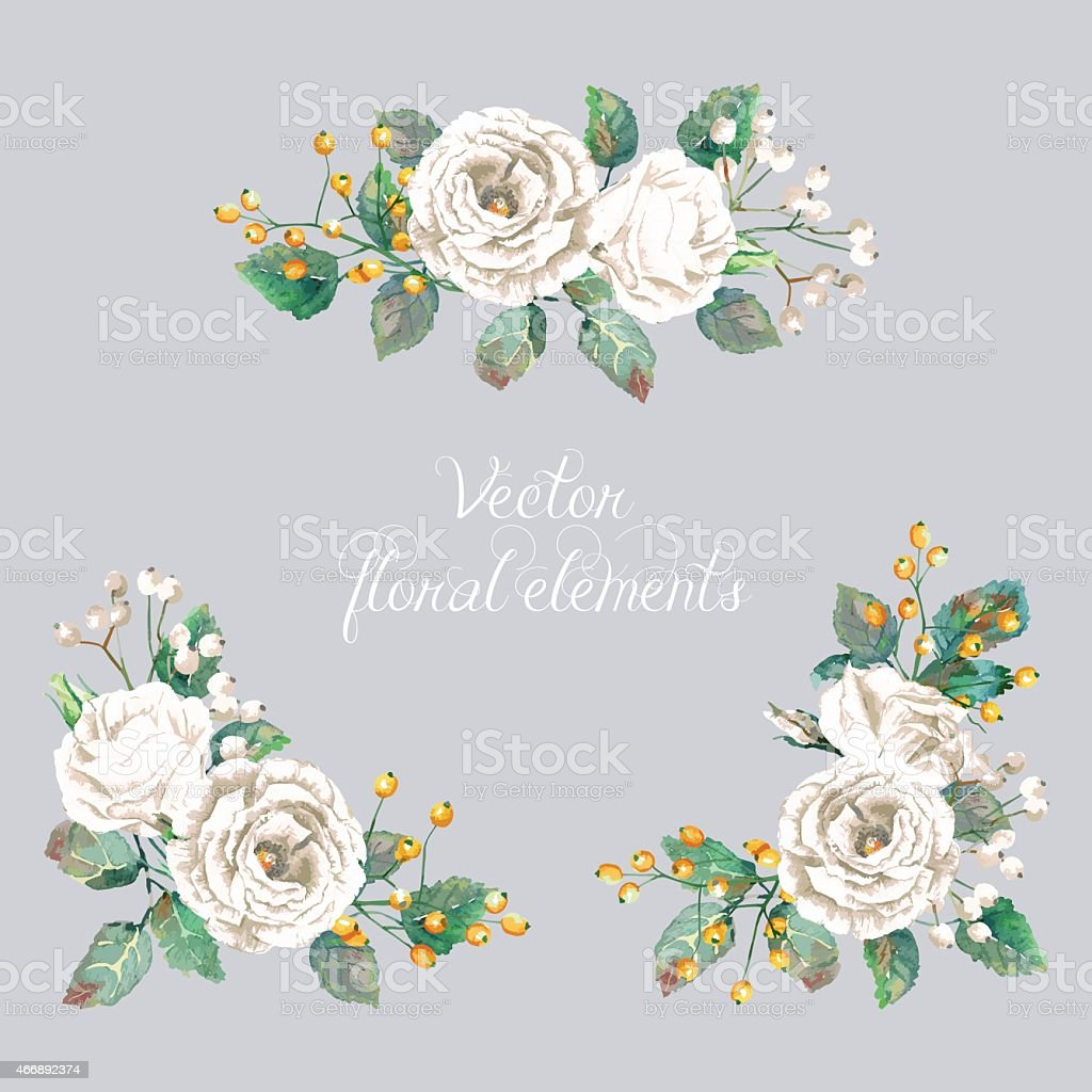 White flowers and gold berries surrounding company title stok vektr white flowers and gold berries surrounding company title royalty free white flowers and gold berries mightylinksfo