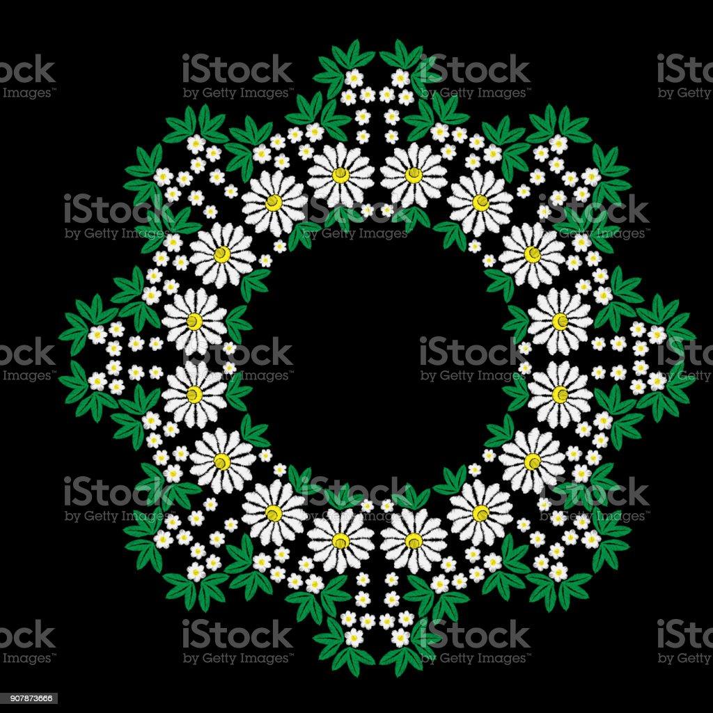 Weißen Blüten Und Grünen Blatt Rahmen Stickerei Stiche Nachahmung ...