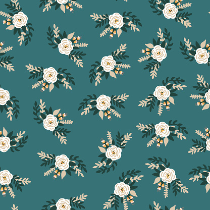 White flowers bridal roses seamless vector pattern. Repeating retro romantic floral background teal blue. Ditsy flower pattern Scandinavian flat style for fabric, invitation, kids, wedding, nursery.