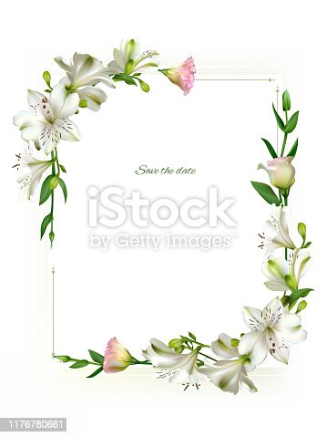 White flowers. Floral background. Green leaves. Eustoma. Lilies.