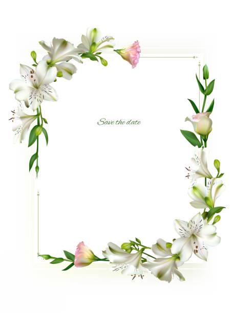 weiße blumen. floral hintergrund. grüne blätter. eustoma. lilien. - blütenstand stock-grafiken, -clipart, -cartoons und -symbole