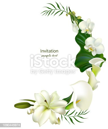 White flowers. Flower background. Calla. Lilies. Orchids. Green leaves. Wedding invitation.