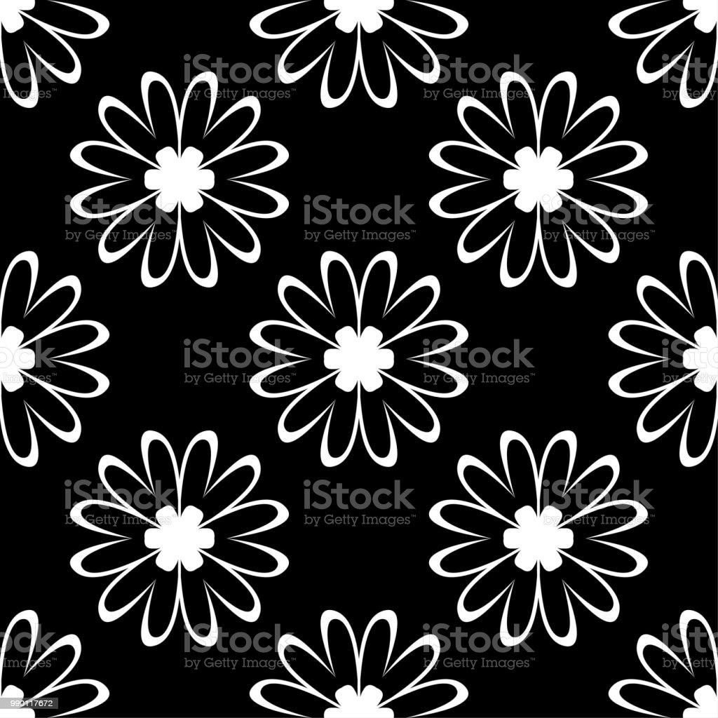 White Flowers On Black Background Ornamental Seamless Pattern Stock