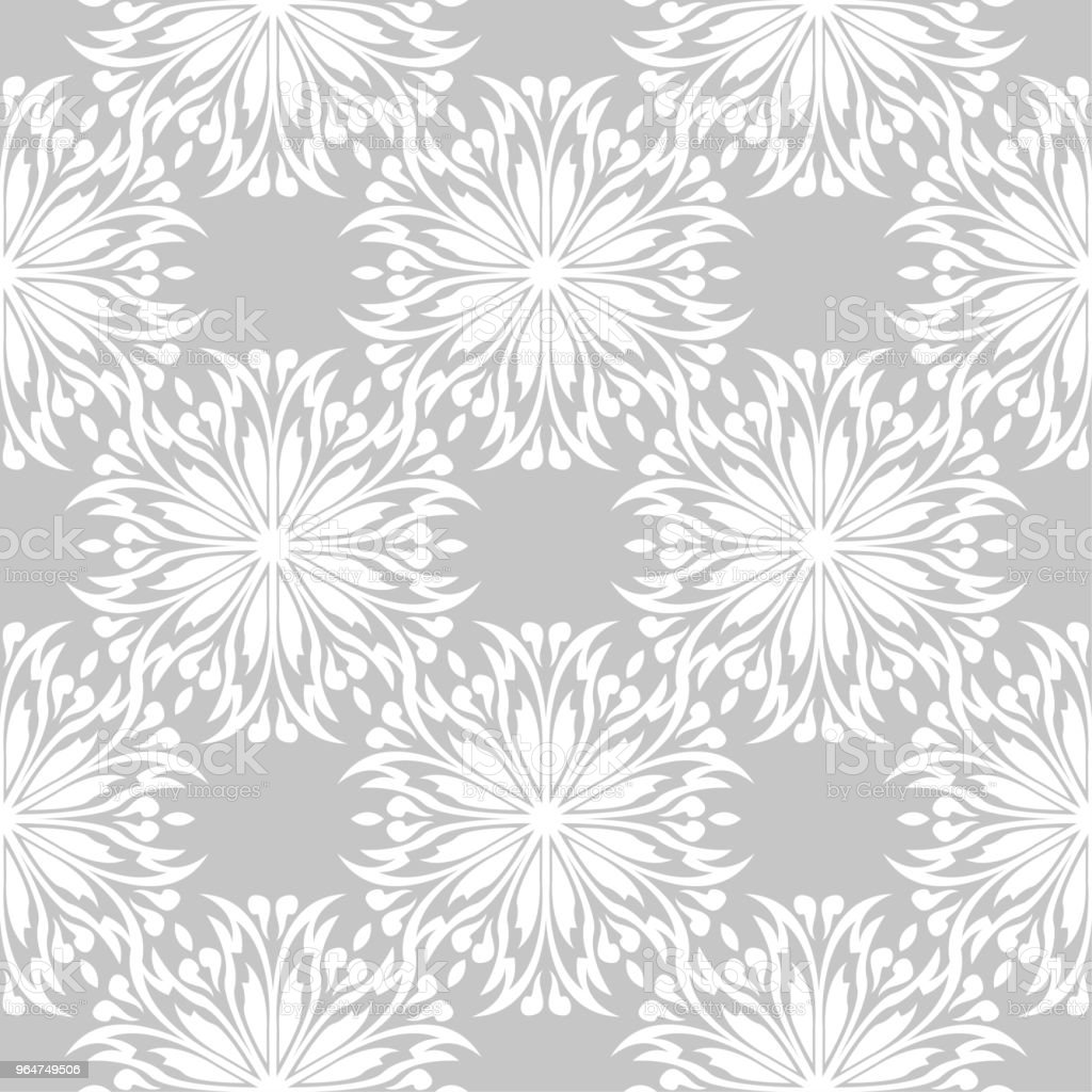 White flowers on gray background. Ornamental seamless pattern royalty-free white flowers on gray background ornamental seamless pattern stock vector art & more images of abstract