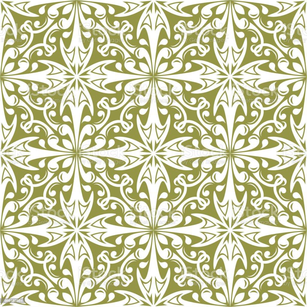 Witte bloemen op olijfgroen achtergrond. Decoratieve naadloze patroon - Royalty-free Abstract vectorkunst