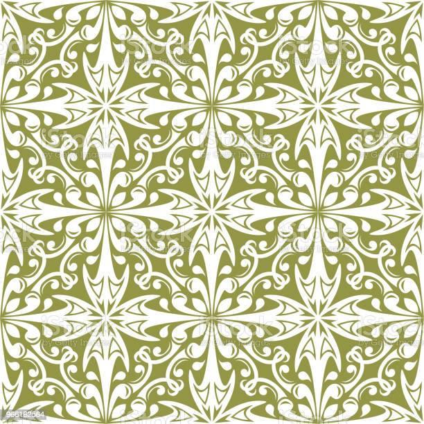 Witte Bloemen Op Olijfgroen Achtergrond Decoratieve Naadloze Patroon Stockvectorkunst en meer beelden van Abstract
