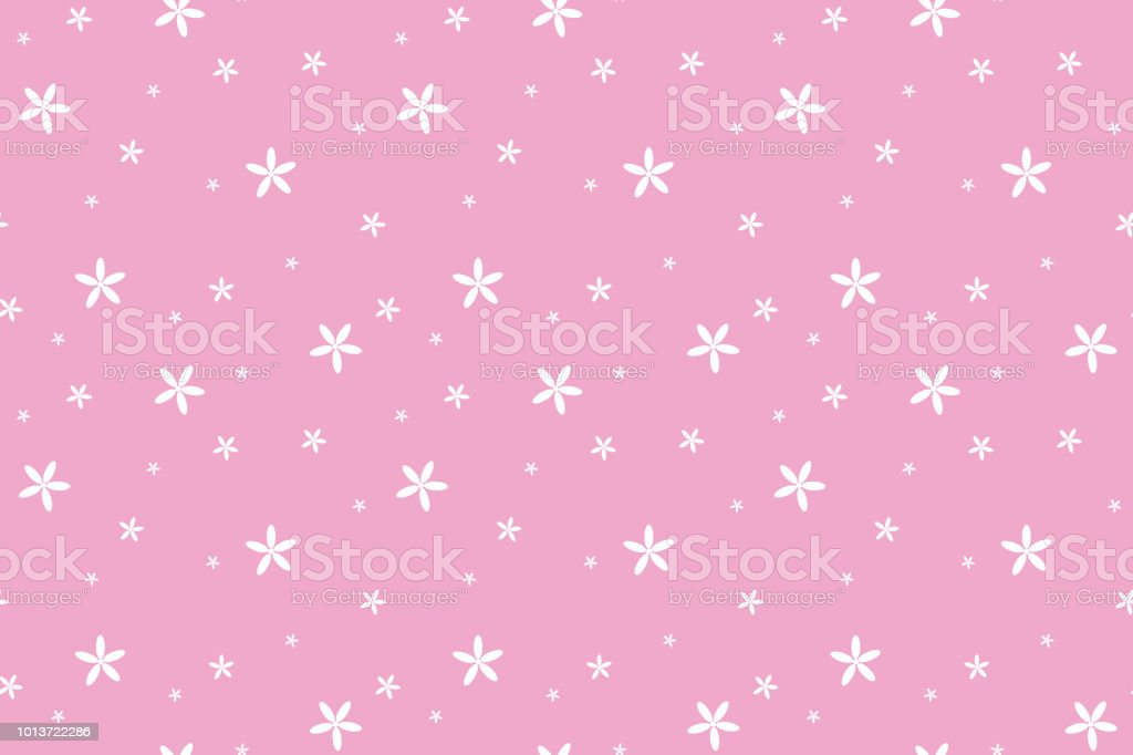 Ilustracion De Flores Blancas En Fondo Rosa Pastel Y Mas Banco De