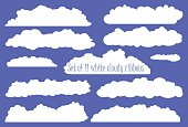 White fluffy cloud ribbon set, white ribbons from clouds for wedding or baby shower, invitation design with clouds, cartoon clouds clipart, collection of ribbons white clouds, heaven white clouds set