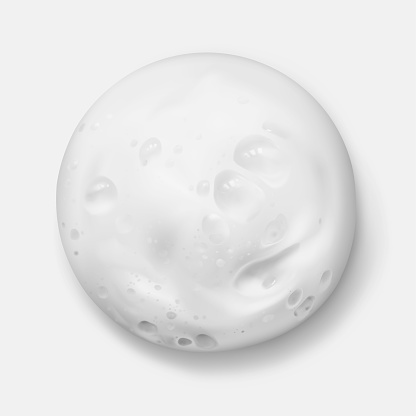 White foam texture from soap, shampoo or cleanser realistic vector illustration, top view. Shaving foam round spot