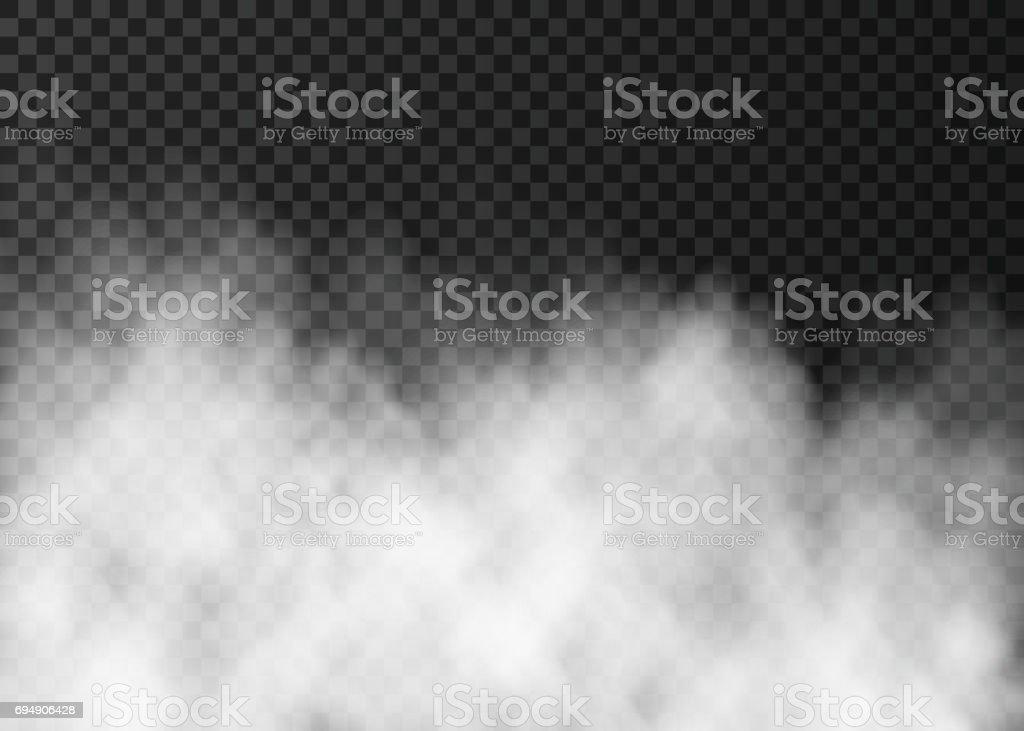 Beyaz sis veya karanlık şeffaf arka plan üzerinde izole duman. vektör sanat illüstrasyonu