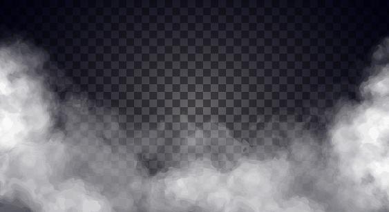 White fog or smoke on dark copy space background. Vector illustration