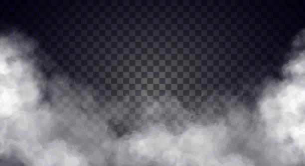biała mgła lub dym na ciemnym tle przestrzeni kopiowania. - upiorny stock illustrations